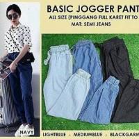 Basic Jogger Denim Pants All Size Navy Light Medium Blue Wanita Murah