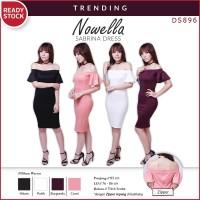 Nowella Sabrina Bodycon Dress Gaun Pakaian Wanita DS896