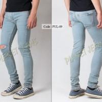 Jual Celana jeans pria ripped sobek / robek lutut model skinny / pensil Murah