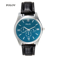 POLOV151 Jam Tangan Business Watch Leather Strap (OEM) - Black Strap
