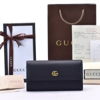 GUCCI CONTINENTAL DOUBLE G LEATHER - HITAM