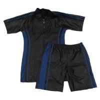 Baju Renang Dewasa Setelan Celana Diving Pria Wanita Hitam - Biru CH8