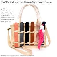 Jual hand bag wanita korean style fence cream Murah