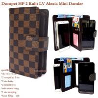 Dompet hp wanita alexia kulit lv mini 2hp up to 5inc damier