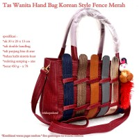 tas wanita korean style fence merah maruun