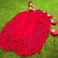 1702033 Merah Ekor Gaun Pengantin Wedding Gown Dress