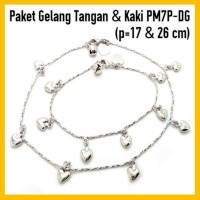 Jual Paket Gelang Tangan&Kaki Perhiasan Lapis Emas Putih PM7P-DG Murah