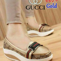 Sepatu casual wedges slip on loafers gucci gc gold emas real pic