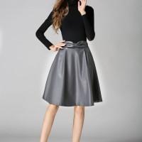 Rok Kulit Leather Skirt Hitam, Abu-abu, Cute Bow Elegan Import Murah