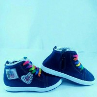 Sepatu walker anak import kets biru navy tali rainbow zipper resleting
