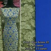 Brokat Bahan Kain Kebaya Dress Gaun Baju Muslim Gamis Olive Green J2
