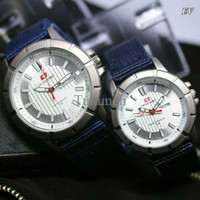 Jam Tangan Swiss Army Kanvas Sepasang Blue Cover White