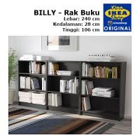 IKEA BILLY Rak Buku Hitam-Cokelat 240x106x28 cm