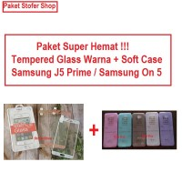 [PAKET] Softcase + Tempered Glass Warna Samsung J5 Prime /Samsung On 5