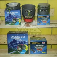 Paket Hemat Cooking set / Nesting DS 301 & Kompor Windproof / Bunga