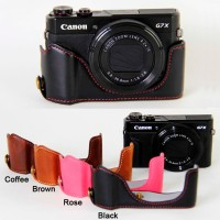 Leather Protect Half Case Grip for Canon PowerShot G7X Mark II Camera
