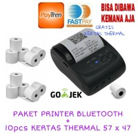 Paket Printer Bluetooth Mini Portable + 10pcs Kertas Thermal 57 x 47