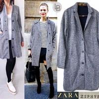 Jual OBRAL PROMO B578 Zara Zephyros Grey Coat original branded Murah