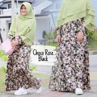 Gamis Katun Jepang Choco Rose Black Dresslim Original Termurah
