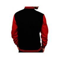 DEcTionS Jaket Kulit Baseball Kombinasi Fleece - Hitam Merah - Promo
