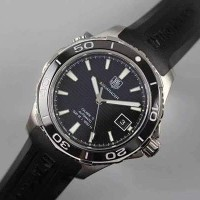 JUAL JAM TAG HEUER AQUARACER CALIBRE 5 SS BLACK DIAL ON RUBBER STRAP