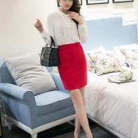 Rok Mini Rok Span Formal Merah, Hitam Polos, Skinny Skirt Import Murah