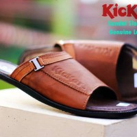 sandal slop kulit gunung kickers strapes motif belts pria -coklat tan-