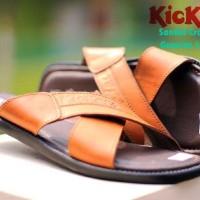 sandal slop kulit gunung kickers silang motit x series pria -tan-