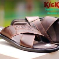 sandal slop kulit gunung kickers silang motit x series pria -coklat-