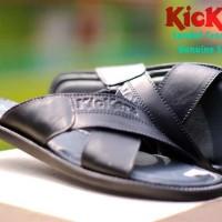 sandal slop kulit gunung kickers silang motit x series pria -hitam-