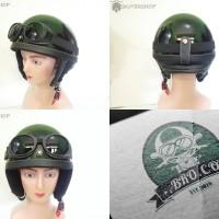 Helm Retro Chips Kupingan New Hitam Glossy + Kacamata