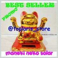 Jual Kucing Hoki Maneki Neko Solar Lucky Cat Rejeki Jumbo 2 Tangan Gerak Murah