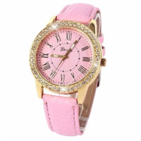 SPESIAL Jam Tangan GENEVA Roller Diamond LEATHER PINK #GN003# TERLARIS
