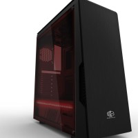CUBE GAMING OXADO - Full Acrylic Window - PSU Cover 1 x Red Led Strip