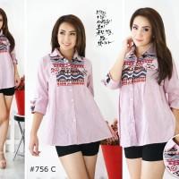 Baju Pakaian Wanita Kemeja Atasan Model Lengan 3/4 756C