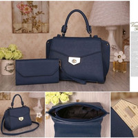 TAS IMPORT WANITA - HANDBAGS 351BD 2IN1 BLACK NAVY & RED