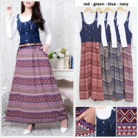 Overall jeans hijabers batik gamis maxi hijab with inner dress cantik