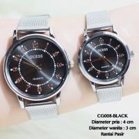 Jam Tangan Couple Guess Rantai Pasir BLACK (CG008) Ring SILVER