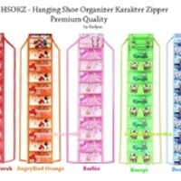 Jual Hanging Shoes Organizer Karakter Zipper / Rak Sepatu Gantung Murah
