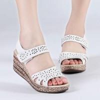 Sandal wedges motif laser PUTIH sendal wedges sepatu sandal wanita