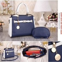 TAS IMPORT WANITA - HANDBAGS 405BC 2IN1 BLACK & NAVY