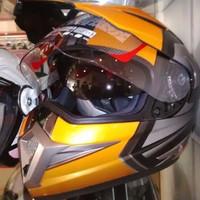 Promo Helm KYT Super Moto Cross Double Visor Supermoto Hitam Orange Pa