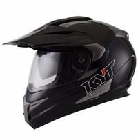 Promo Helm KYT Super Moto Cross Double Visor Supermoto Hitam Polos Sol