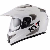 Best Deal Helm KYT Super Moto Cross Double Visor Supermoto Putih Polos