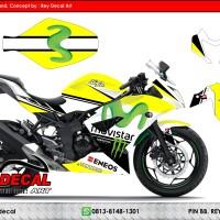 Decal Ninja RR MONO 250 Movistar Yellow FULLBODY SUDAH POLA CUTTING