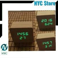 LED Digital Alarm Wood Clock Jam Weker Motif Kayu