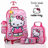 Jual Tas Trolley Anak 3D 5 in 1 Set Hello Kitty Murah
