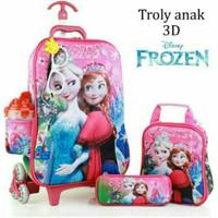 Jual Tas Trolley Anak 3D 5 in 1 Set Frozen Pink Murah