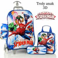 Jual Tas Trolley Anak 3D 5 in 1 Set Spiderman Murah