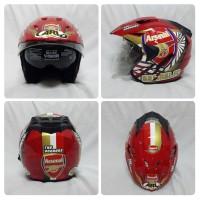 Helm Bola Arsenal Merah New Motif The Gunners Double Visor SNI ARL VCC